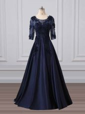 Customized Navy Blue 3 4 Length Sleeve Satin Brush Train Zipper Mother of Groom Dress for Party and Sweet 16