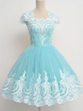 Glorious Tulle Square Cap Sleeves Zipper Lace Dama Dress in Aqua Blue