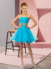 Dramatic Baby Blue Sleeveless Beading and Ruching Mini Length Womens Party Dresses