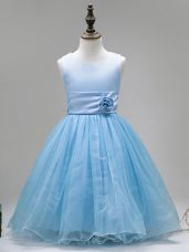 Sweet Sleeveless Floor Length Hand Made Flower Zipper Flower Girl Dress with Baby Blue