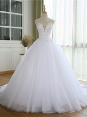 Exquisite Tulle Sleeveless Bridal Gown Court Train and Lace and Appliques
