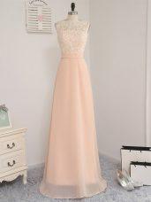 Peach Chiffon Backless Damas Dress Sleeveless Floor Length Lace
