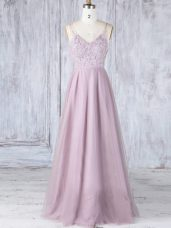 Sexy Pink Empire V-neck Sleeveless Tulle Floor Length Clasp Handle Lace Bridesmaid Dresses