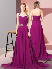 Vintage Fuchsia Empire Beading and Ruching Dress for Prom Zipper Chiffon Sleeveless