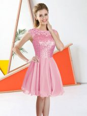 Knee Length Backless Damas Dress Pink for Prom and Party with Beading and Lace