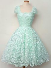 Lace Cap Sleeves Knee Length Bridesmaid Gown and Lace