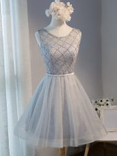 Tulle Sleeveless Mini Length Homecoming Dresses and Beading