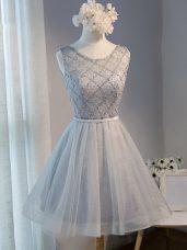 Tulle Sleeveless Mini Length Homecoming Dresses and Beading