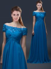 Royal Blue Mother of Bride Dresses Prom and Party with Appliques Off The Shoulder Short Sleeves Lace Up
