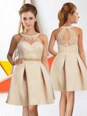 Sleeveless Chiffon Knee Length Zipper Quinceanera Dama Dress in Champagne with Lace