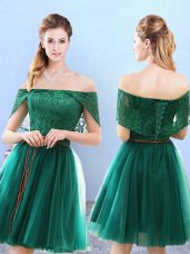 Olive Green Quinceanera Court Dresses Prom and Party with Lace Off The Shoulder Cap Sleeves Lace Up