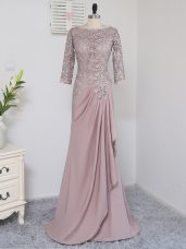 Fancy Pink Ball Gowns Beading and Lace and Appliques Mother of the Bride Dress Zipper Elastic Woven Satin Half Sleeves