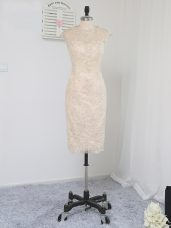 Knee Length Zipper Mother of the Bride Dress Champagne for Prom and Party and Military Ball with Lace and Appliques