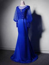 Scoop Long Sleeves Elastic Woven Satin Mother of Groom Dress Beading and Lace and Appliques Brush Train Clasp Handle