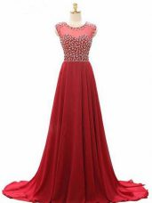 On Sale Wine Red Chiffon Lace Up Scoop Sleeveless Dress Like A Star Brush Train Beading