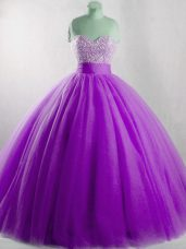 Eggplant Purple Ball Gowns Sweetheart Sleeveless Tulle Floor Length Lace Up Beading Ball Gown Prom Dress