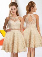 Champagne Sleeveless Knee Length Lace Zipper Bridesmaid Dress