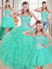 Sophisticated Turquoise Lace Up 15th Birthday Dress Beading and Ruffled Layers Sleeveless Brush Train