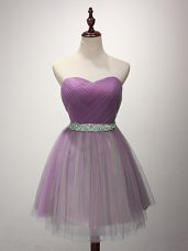Lilac Tulle Lace Up Bridesmaid Gown Sleeveless Mini Length Ruching