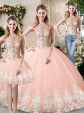 Modern Peach Tulle Backless 15 Quinceanera Dress Sleeveless Floor Length Beading and Lace and Appliques