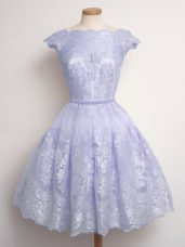 Pretty Lace Bridesmaid Gown Lavender Lace Up Cap Sleeves Knee Length