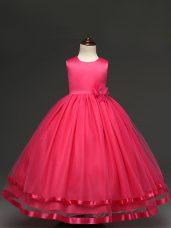 Popular Hot Pink Zipper Scoop Hand Made Flower Child Pageant Dress Tulle Sleeveless