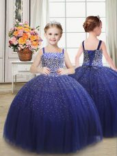 Discount Floor Length Lace Up Little Girl Pageant Gowns Royal Blue for Wedding Party with Beading