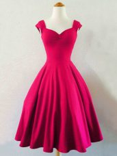 Excellent Knee Length Hot Pink Bridesmaids Dress Straps Sleeveless Lace Up