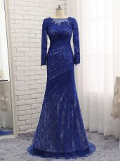 Traditional Blue Mother of Groom Dress Prom and Military Ball and Sweet 16 with Lace Bateau Long Sleeves Brush Train Zipper
