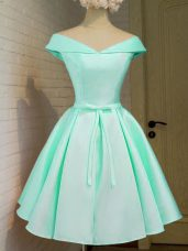Cap Sleeves Knee Length Belt Zipper Bridesmaid Gown with Turquoise