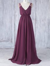 Burgundy Chiffon Backless Bridesmaid Gown Sleeveless Floor Length Appliques