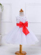 Knee Length Ball Gowns Sleeveless White Little Girls Pageant Dress Zipper
