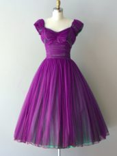Gorgeous Knee Length A-line Cap Sleeves Purple Dama Dress Lace Up