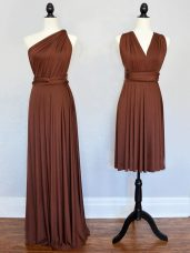 Low Price Brown One Shoulder Lace Up Ruching Bridesmaid Dress Sleeveless