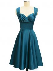 Eye-catching Teal Lace Up Wedding Party Dress Ruching Sleeveless Knee Length
