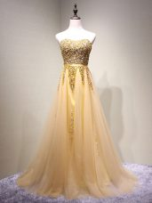 Floor Length Champagne Prom Dress Sweetheart Sleeveless Lace Up
