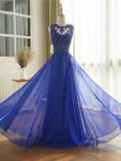 Royal Blue Homecoming Dress Prom and Military Ball and Beach with Appliques Scoop Sleeveless Zipper