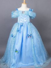 Custom Made Light Blue A-line Off The Shoulder Short Sleeves Tulle Floor Length Side Zipper Appliques Party Dresses