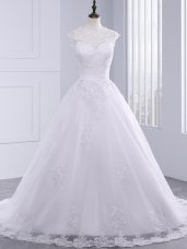 Flirting High-neck Sleeveless Tulle Bridal Gown Lace and Appliques and Bowknot Brush Train Zipper