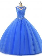 Superior Blue Ball Gowns Scoop Sleeveless Tulle Floor Length Lace Up Beading and Lace Sweet 16 Dresses