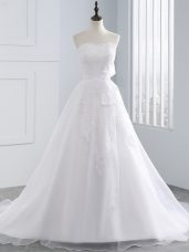 Lace Up Wedding Gowns White for Beach and Wedding Party with Lace and Appliques