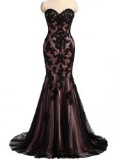 Elegant Black Evening Dress Prom and Military Ball and Sweet 16 with Lace and Appliques Sweetheart Sleeveless Brush Train Lace Up