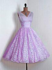 Lilac Lace Lace Up Bridesmaid Dresses Sleeveless Mini Length Lace