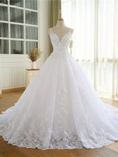 White Sleeveless Organza Lace Up Wedding Gowns for Beach and Wedding Party