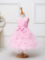 Baby Pink Ball Gowns Organza Scoop Sleeveless Ruffled Layers and Bowknot Tea Length Zipper Little Girl Pageant Gowns