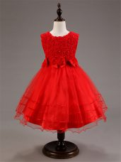 High End Red Tulle Zipper Little Girl Pageant Gowns Sleeveless Knee Length Ruffled Layers and Hand Made Flower