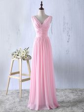 V-neck Sleeveless Bridesmaid Dress Floor Length Ruching Baby Pink Chiffon