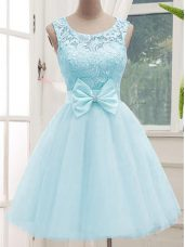 Elegant Aqua Blue A-line Scoop Sleeveless Tulle Knee Length Lace Up Lace Quinceanera Dama Dress