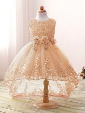 Champagne Sleeveless Lace and Bowknot and Hand Made Flower High Low Flower Girl Dresses