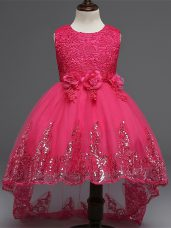 Tulle Sleeveless High Low Kids Formal Wear and Lace and Appliques and Bowknot and Hand Made Flower